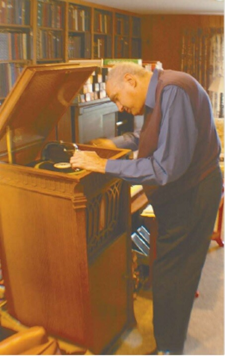 Ed Clute at home with his Edison