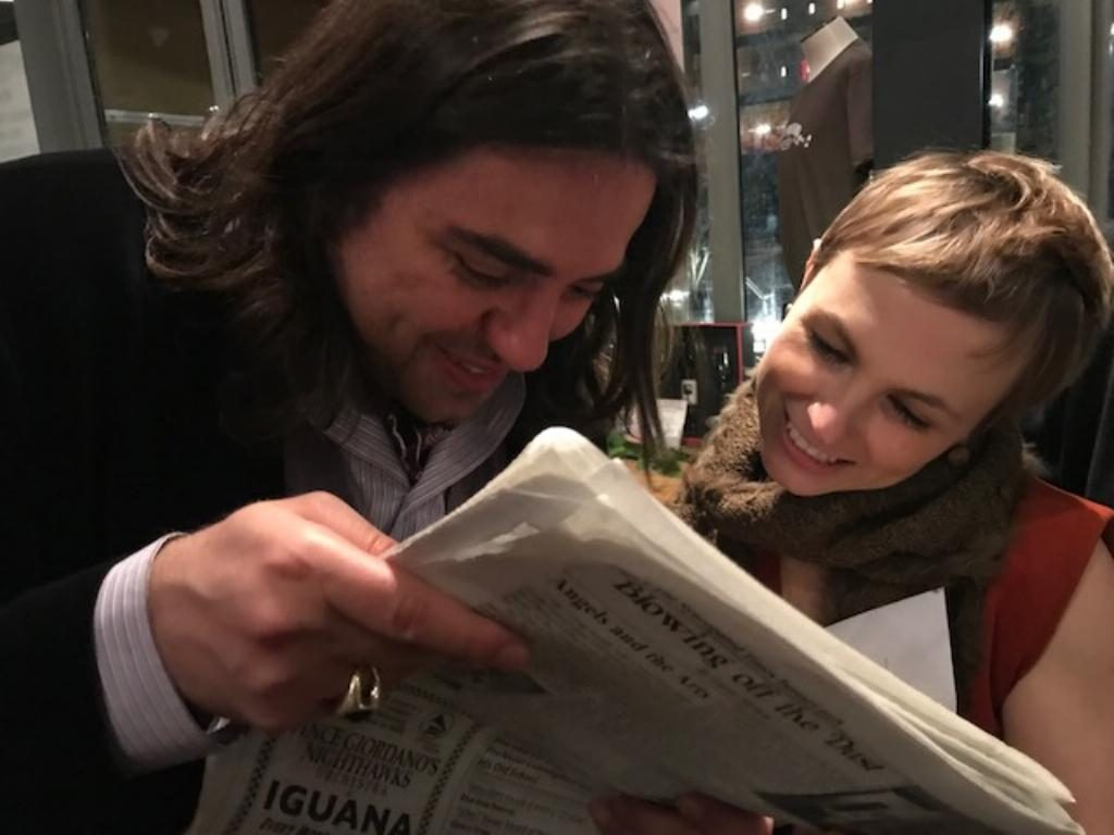 Kat Edmondson and Michael Katsobashvili, enjoying an early issue of The Syncopated Times.