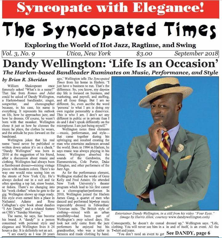 Syncopated Times 2018 09 September Cover Detail 1 - Past Issues