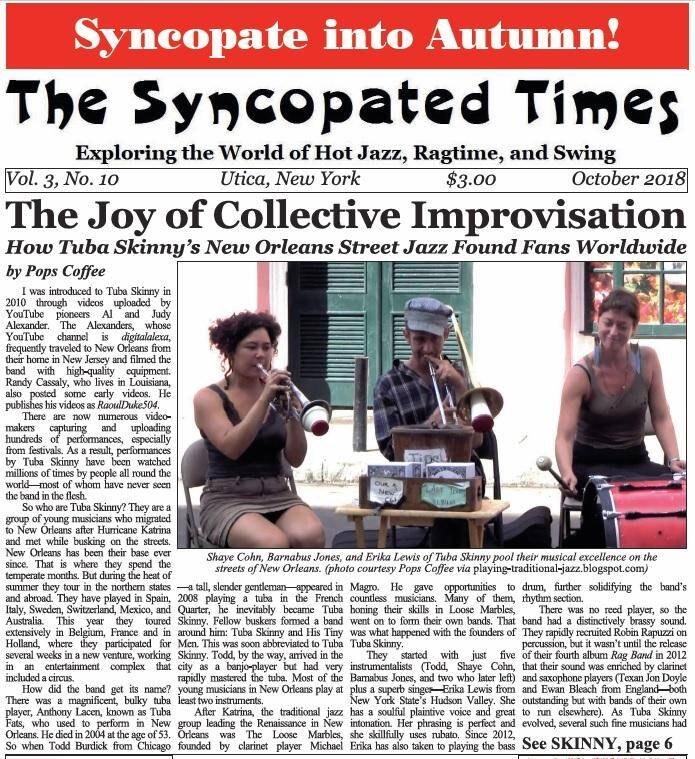 Syncopated Times 2018 10 October cover detail - Past Issues