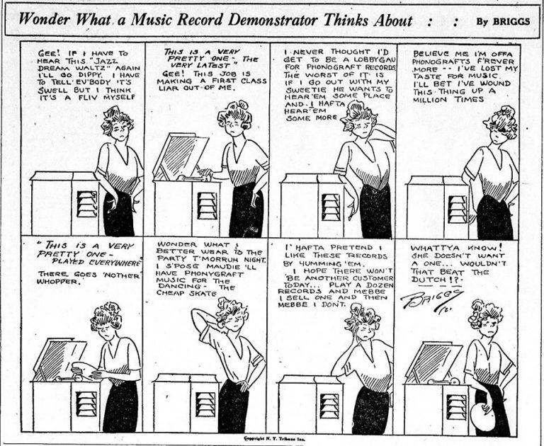 Wonder What a Music Record Demonstrator Thinks About? by Clare Briggs (1921)