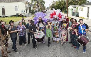 Haruka Kikuchi, center, with the Mardi Gras Indian inspired Cha Wa
