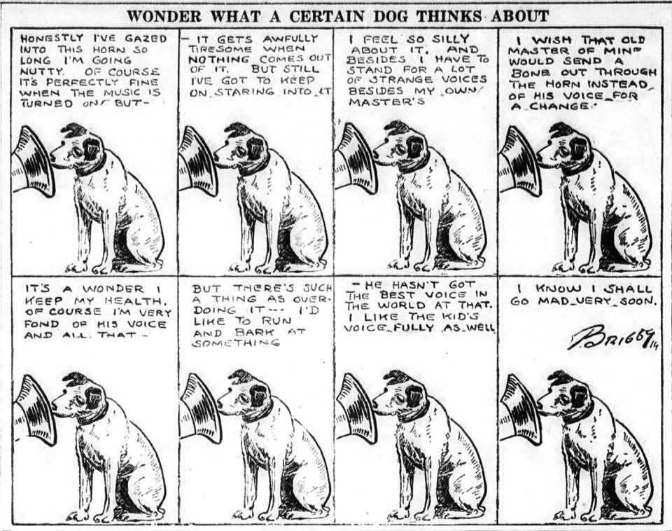 Wonder what a certain Dog Thinks about? (Clare Briggs 1919)