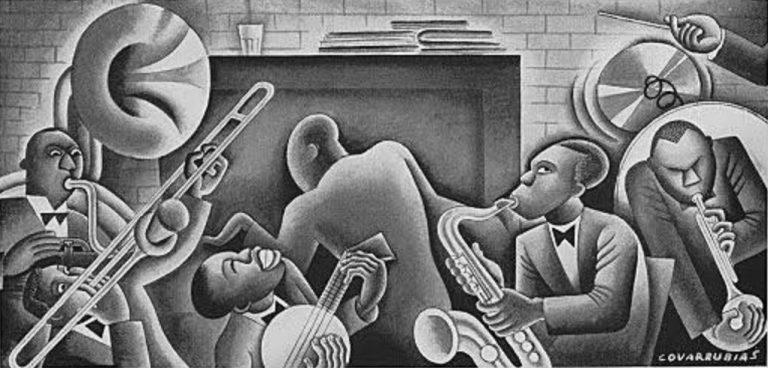 A Jazz Band by Miguel Covarrubias (plate from Blues by W.C. Handy, 2nd Ed., 1926)