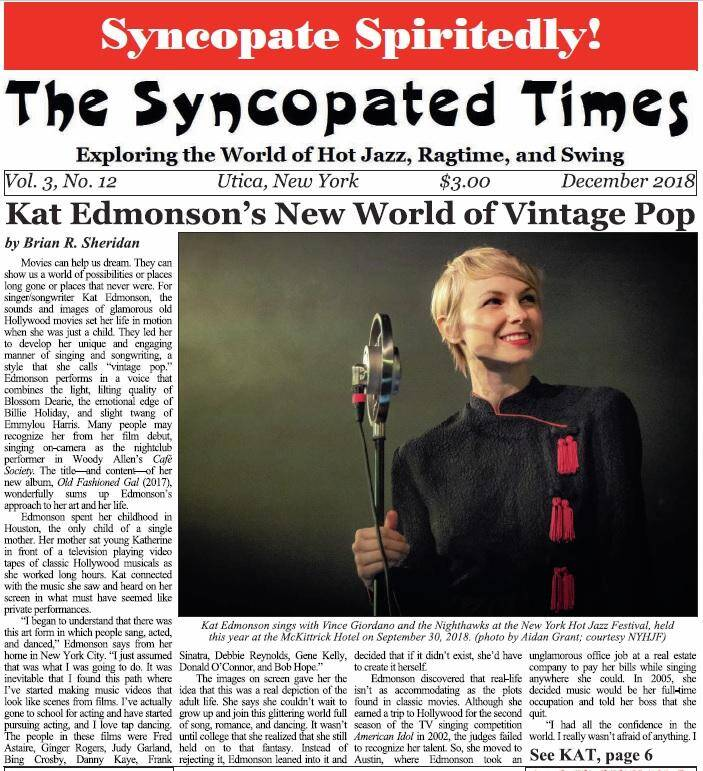 Syncopated Times 2018 12 December cover detail - Past Issues