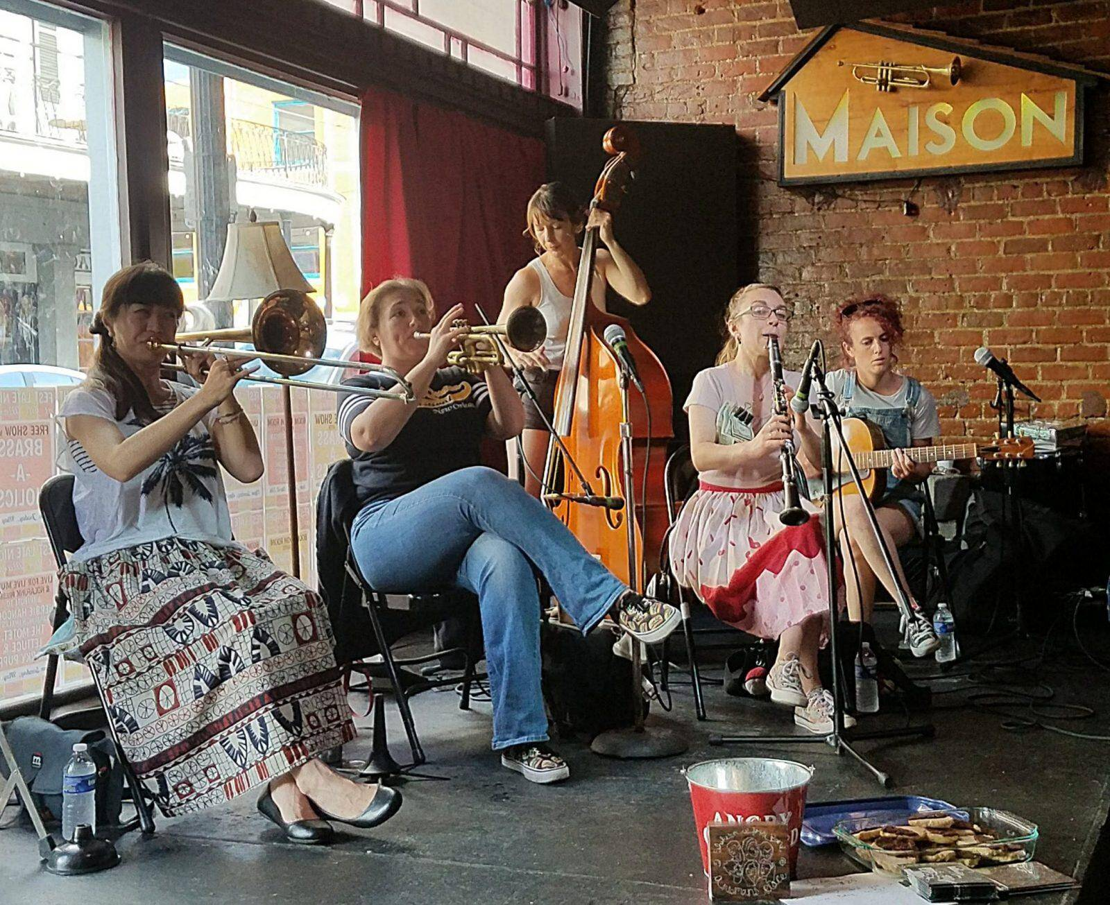 The Shake 'Em Up Jazz Band performs at the Maison on Frenchmen St., with Marla Dixon (tp) Chloe Feoranzo (cl) Haruka Kikuchi (tb) Molly Reeves (g) Julie Schexnayder (bs). (photo by Ken Arnold)