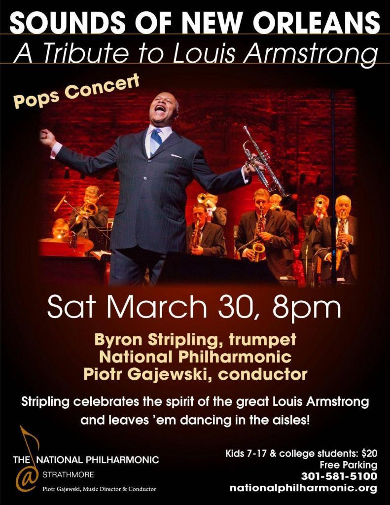 Byron Stripling & National Philharmonic Tribute to Louis Armstrong March 30th
