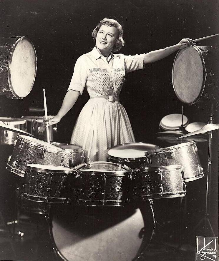 Viola drums Kriegsmann publicity photo - Viola Smith's Century in Music- An Interview with the World's Oldest Drummer.