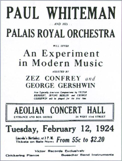 Rhapsody in Blue Aeolian Hall Concert Flyer