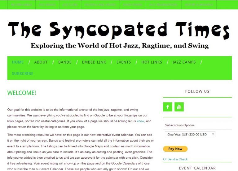 The Syncopated Times Website on its first day.