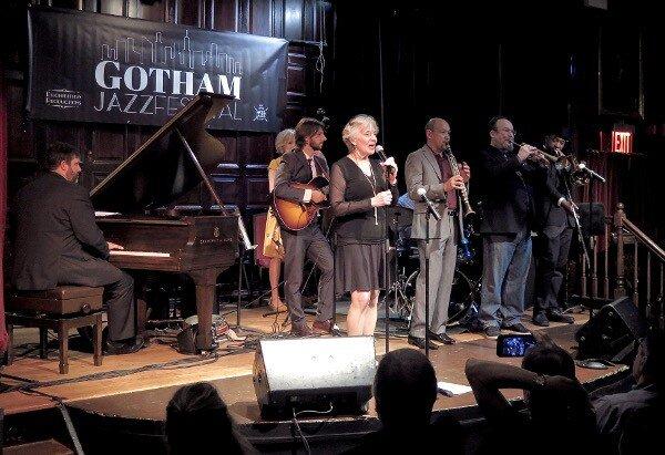 Vocalist, Becky Kilgore and The New York Hot Jazz Camp All-Stars: (L-R): Dalton Ridenhour (p), Nicki Parrott (bs), Justin Poindexter (g),Becky Kilgore (v), Evan Christopher (cl), Rob Garcia(dr), Jon-Erik Kellso (tmpt) and Dion Tucker (tmbn)