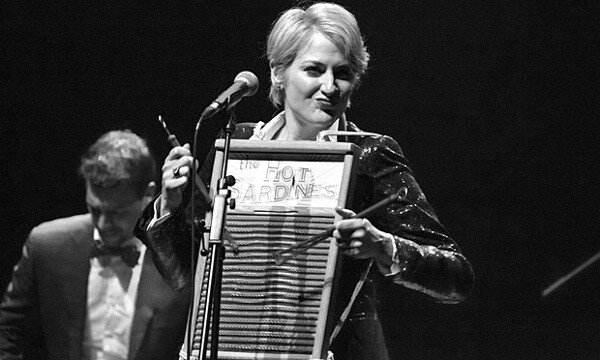 """Miz Elizabeth"" Bougerol leads the Hot Sardines with her Dubl Handi washboard, still available from Ace Hardware (photo by Rob Ball)"