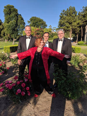 Back in the game: with her Swingtet (from left: Phil Krawzak, Oliver Steinberg, and Chris Dawson) Randi Cee shows off her red loafers at the South Hills Country Club on June 8, 2019. (photo courtesy Randi Cee)