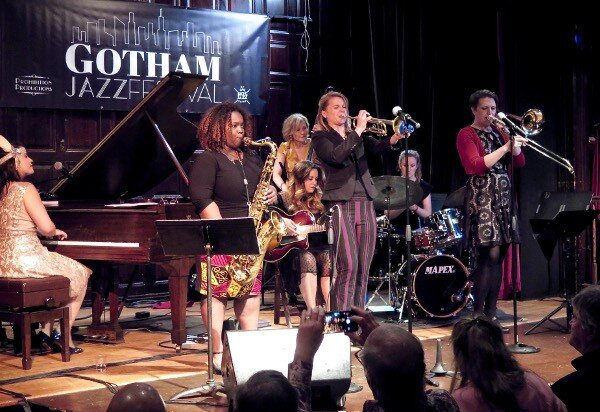 Sisterhood of Swing Seven: L-R: Champian Fulton (p. new to me but totally wowed), Camille Thurman (sx. Also new to me but wow too), Nicki Parrott (bs), Molly Ryan (voc, g), Bria Skonberg (tmpt, voc), Sara Gooch (dr) and Emily Asher.