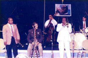 Louis Armstrong memorial stamp release party New Orleans 1995 From left, trumpeters Nicholas Payton, Doc Cheatham, and Dave Bartholomew. Photo: F. Norman Vickers