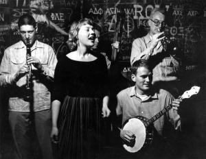 Earl Scheelar, Barbara Dane, Le Sharpton, Dick Oxtot and Sam Charters at Monkey Inn c. 1958.
