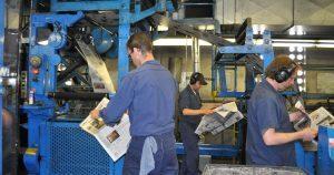 Rome Sentinel Printing Press and workmen