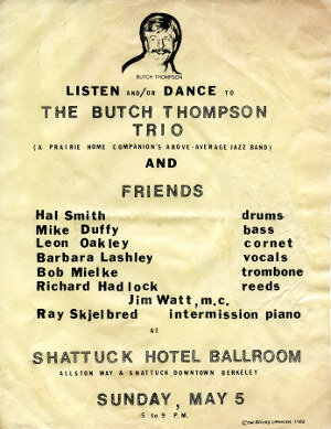 Butch Thompson Trio flyer