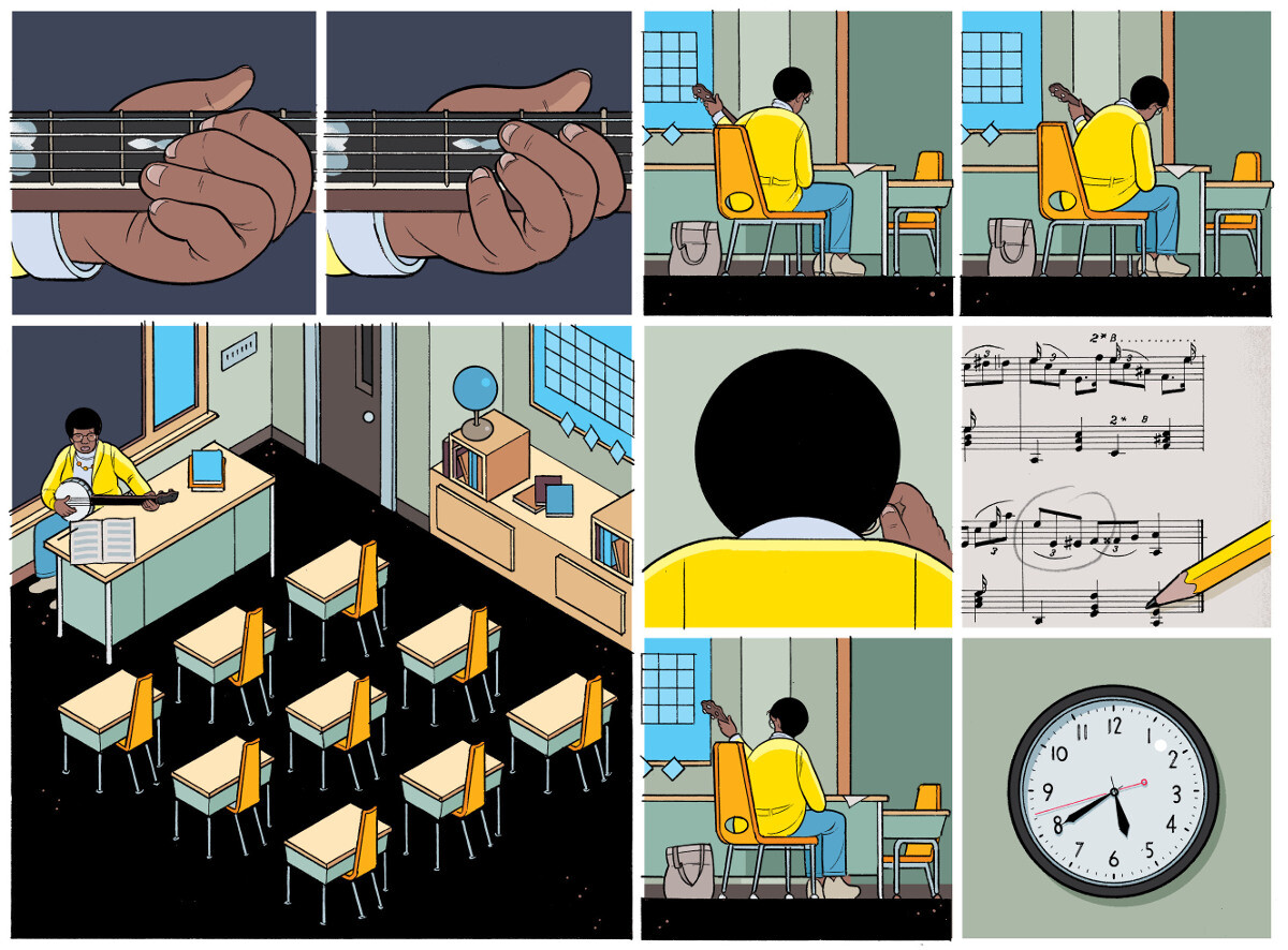 "A page from Chris Ware's Rusty Brown, in which a teacher is learning ""classic"" banjo. (image courtesy Chris Ware and Pantheon Graphic Library)"