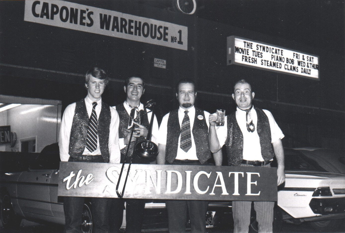 Syndicate w 3 signs Rex Farmer dr Jim Maihack BR Art Terry - Memories of Capone's Chicago Tea Room: Legendary Sacramento Jazz Joint, by Bob Ringwald