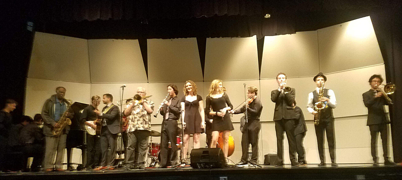 Jazz Party musicians and the MBHS Preservationist Band