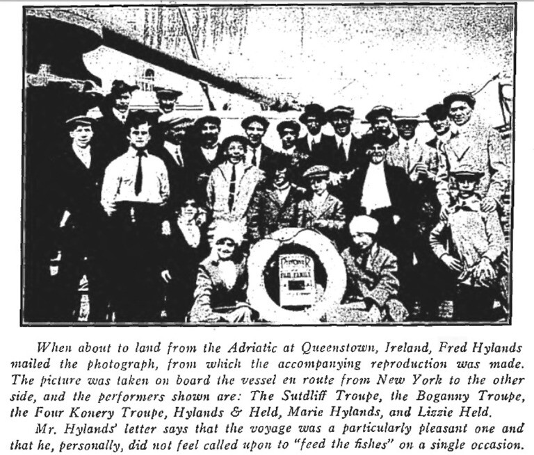 Hylands and Held's troupe enroute to England in 1913