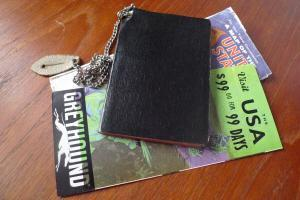 Peter Lundberg's black book, with Greyhound brochure and US map. (courtesy Peter Lundberg)