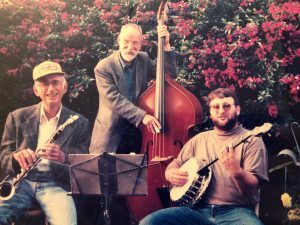 Clint on banjo with Tom Sharpsteen (clarinet) and Mike Fay (bass) 1995