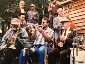 Clint Baker with Bob Mielke and Richard Hadlock at Harold Drob's house 1998