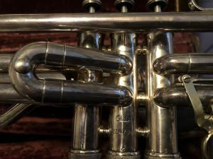 lose-up of valve section of Dans trombone