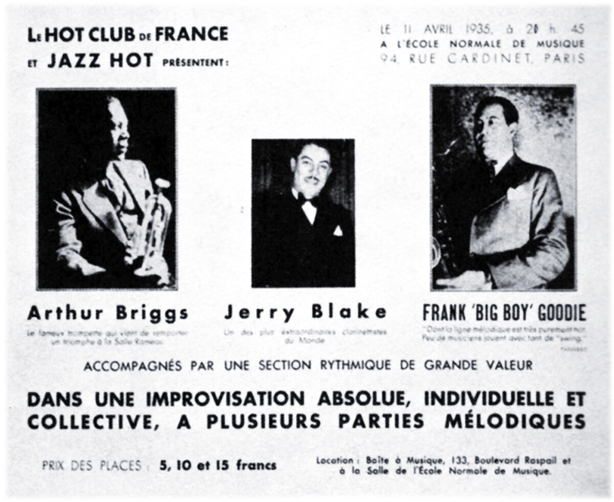 Hot Club promotional flyer, April 1935.