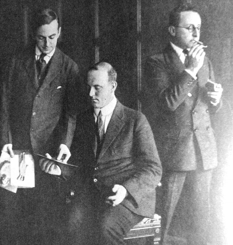 Guy Bolton, P. G. Wodehouse, and Jerome Kern at the Princess Theatre in 1916.