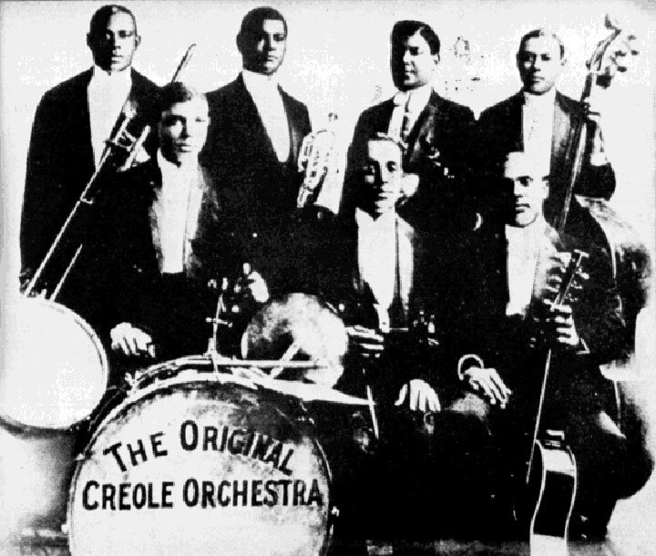 The Original Creole Orchestra Right to Left: Eddie Venson, Dink Johnson, Freddie Keppard, Jimmie Palao, George Baquet, Bill Johnson, and W.M. Williams