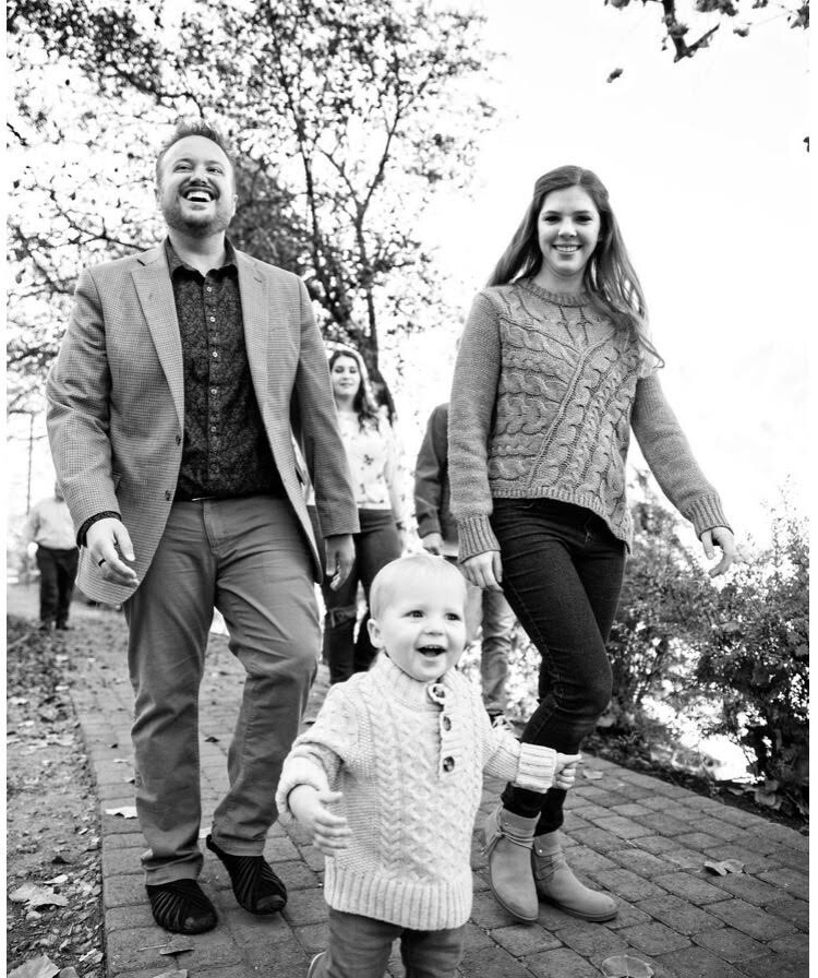 Jory Woodis with his wife Brittney and son Benny.
