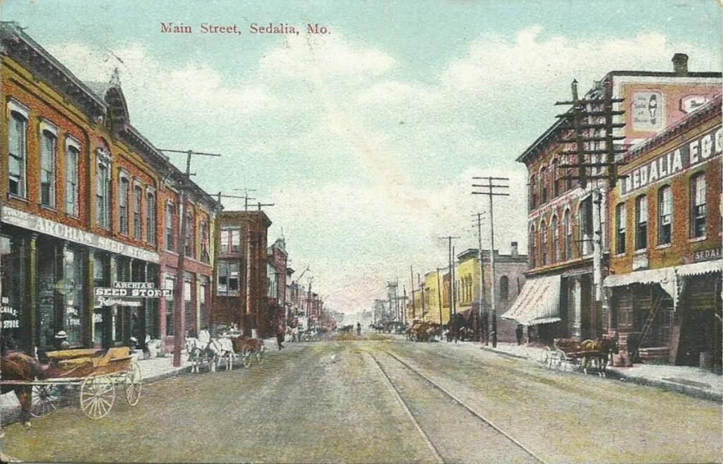 Old postcard of Main Street circa1900. The Maple Leaf Club is just out of photo to the right. (Sedalia Ragtime Archive)