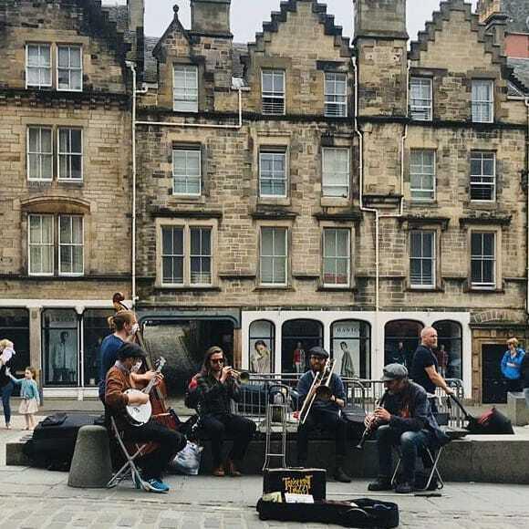 Tenement Jazz Band Busking Grassmarket