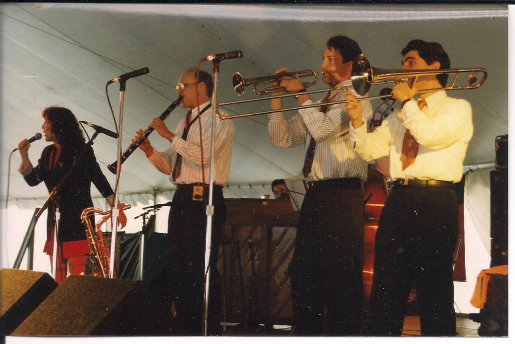 David Sager with Banu Gibson and the New Orleans Hot Jazz Orchestra at N.O. Jazz & Heritage Festival 1995. Tom Fischer, David Boeddinghaus, Duke Heit