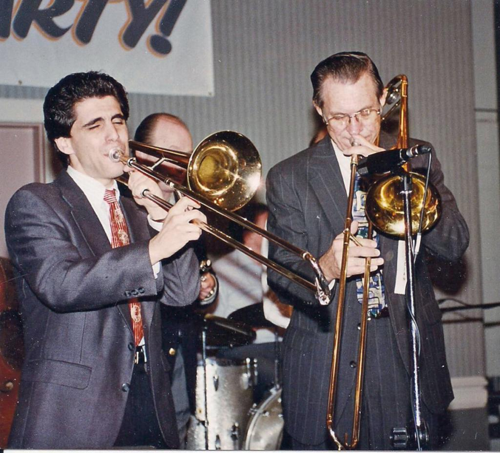 David Sager with Bob Havens and Bobby Gordon at Atlanta Jazz Party 1990s
