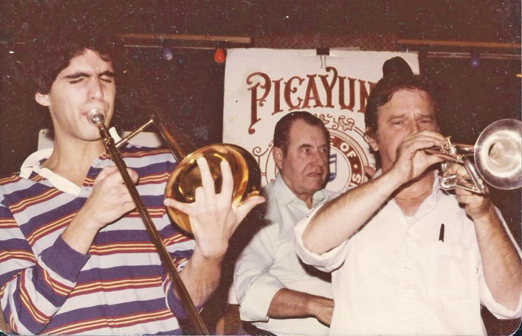 David Sager with trumpeter Tony Hagert and bassist Frank Borer at the Saloon in Georgetown 1982