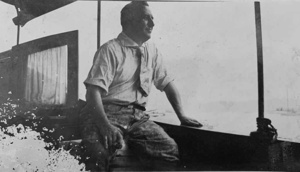 Justin Ring on Fred Hager's boat(c.1924)