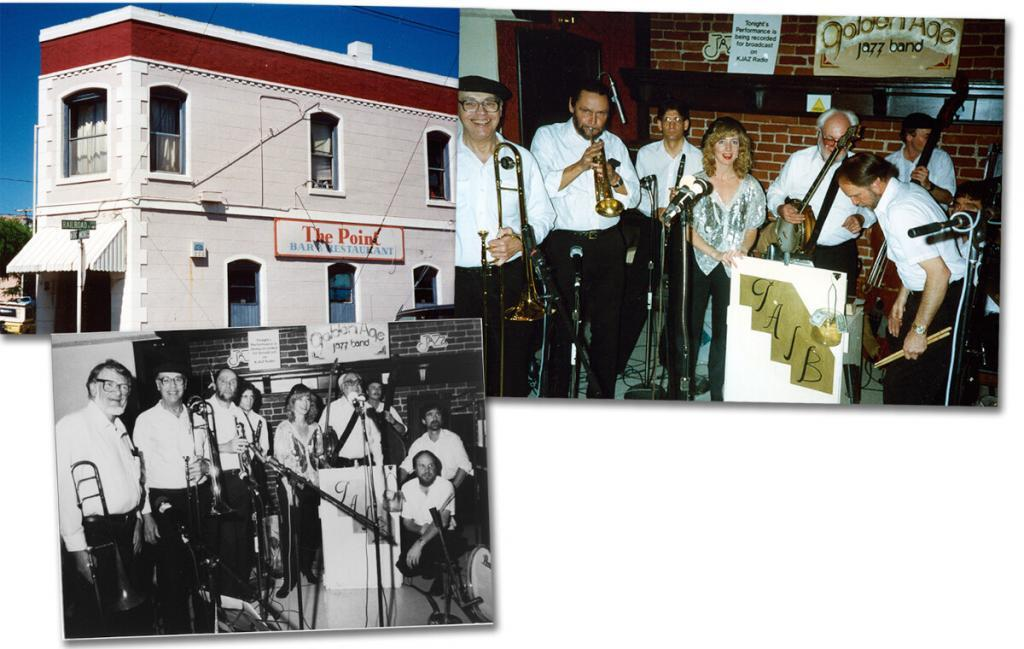 The full-scale, dual-trombone edition of Golden Age Jazz Band from a KJAZ radio broadcast at The Point in 1990. L to R: Mielke and Bardin, Jack Minger, David Giampietro, Melissa (Levesque) Collard, Dick Oxtot, Evan Dain (bass) Bob Scott (drums), and Dick's son, Terry (Oxtot) Rodriguez (piano).