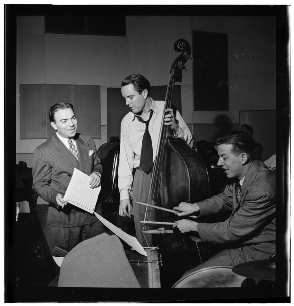 Portrait of Bob Haggart, Morey Feld, and Mack Shopnick, New York, N.Y.(?), ca. July 1947