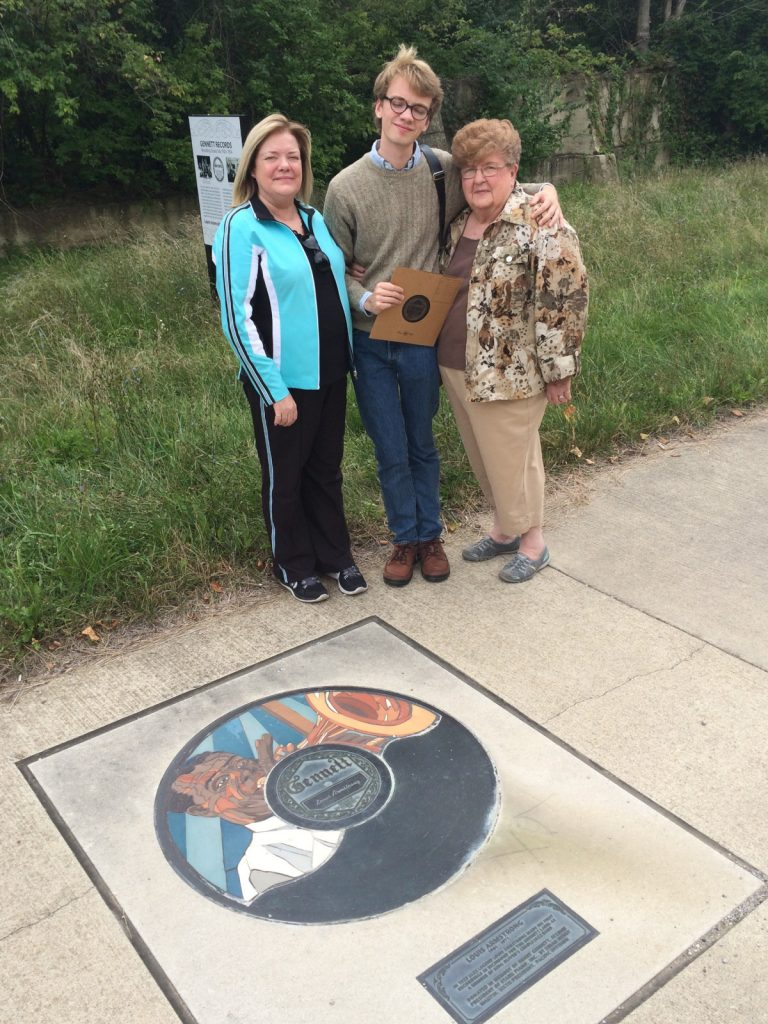 With his Mother and Grandmother at the site of the Gennett records studio, Richmond, Indiana