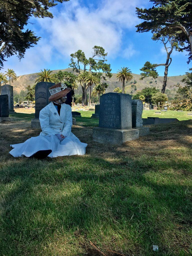 Ramona at graveside of Charles Prince - Colma, CA