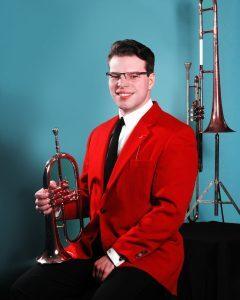 Bandleader Dan Gabel with Vaughn Monroe's trombone. (courtesy Dan Gabel)