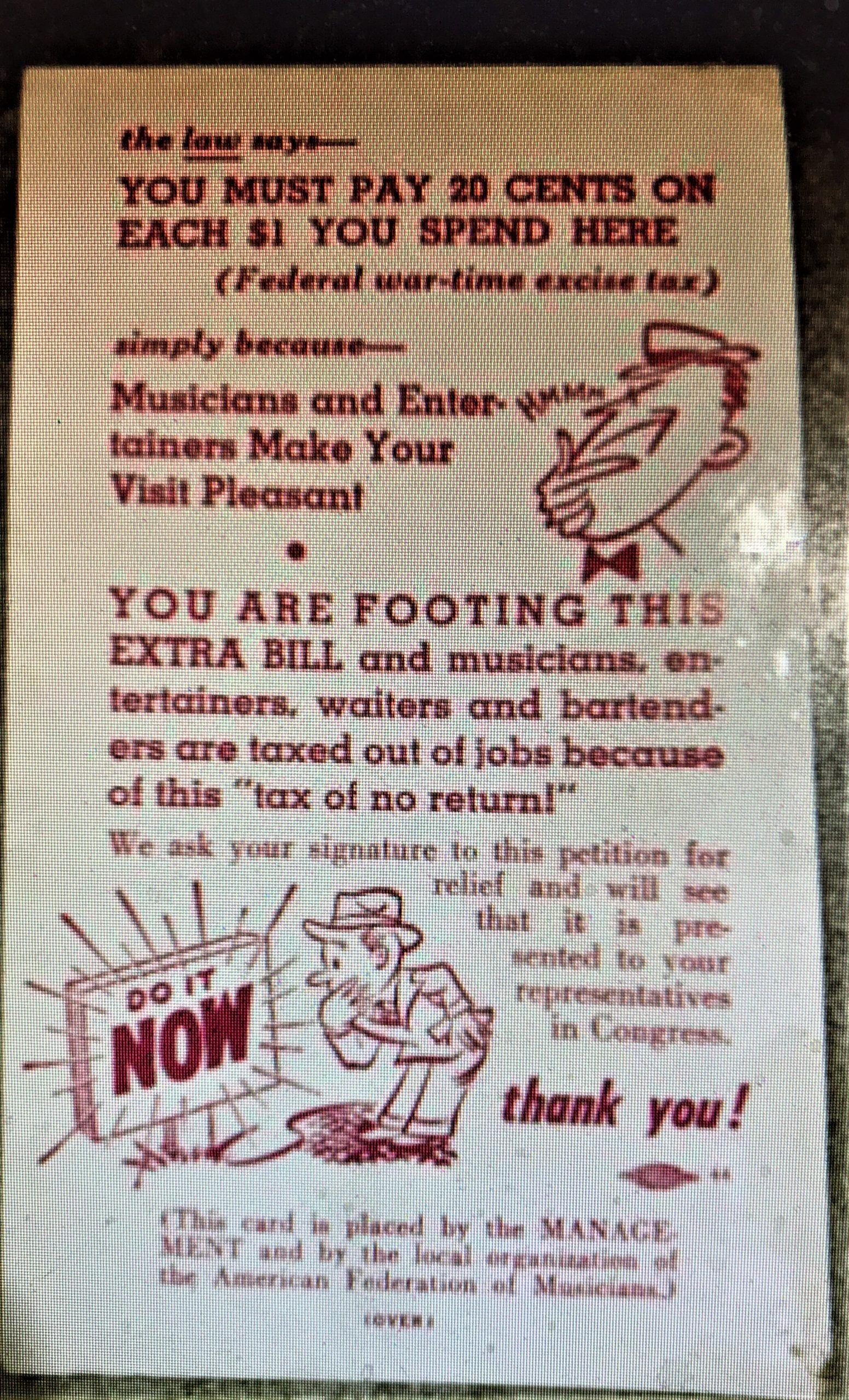 Cabaret Tax Card