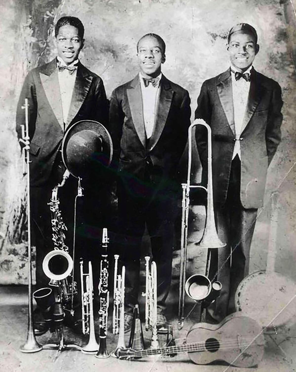 L to R: Edgar Battle, Valentine Billington and Eddie Durham sometime before 1930.