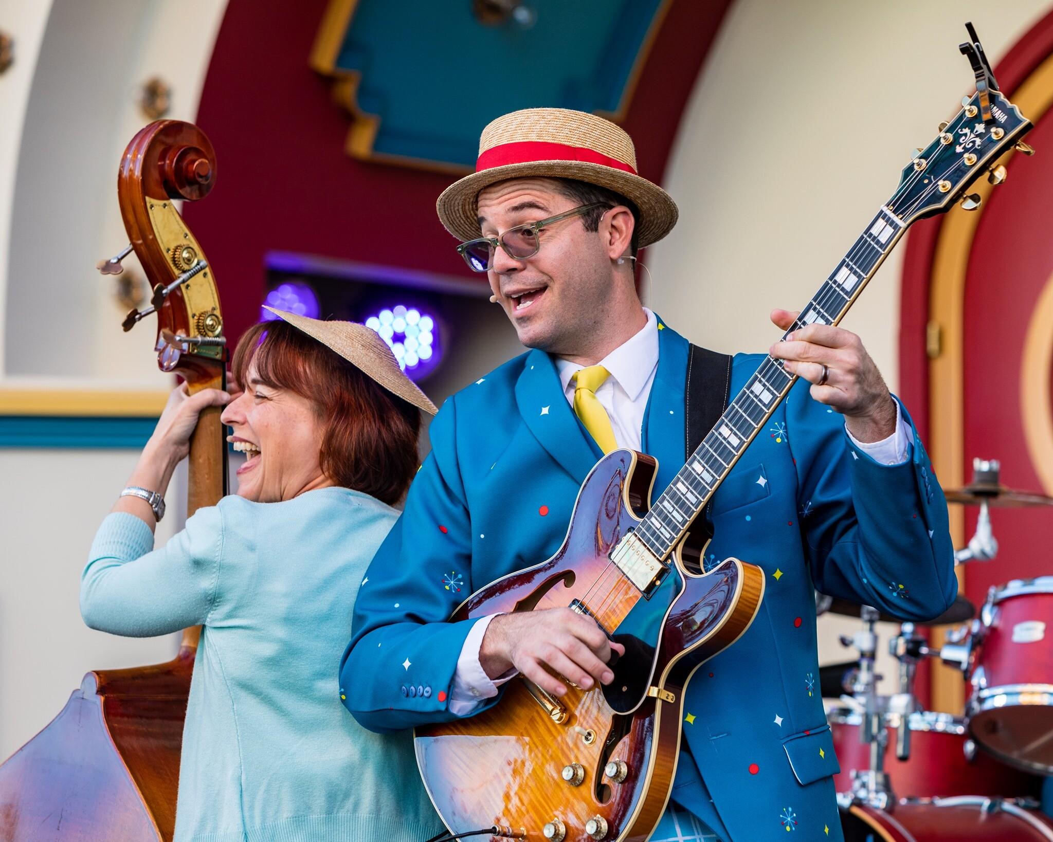Katie Cavera and Timothy Gill at Pixar Promenade Disneyland Richard Takenaga