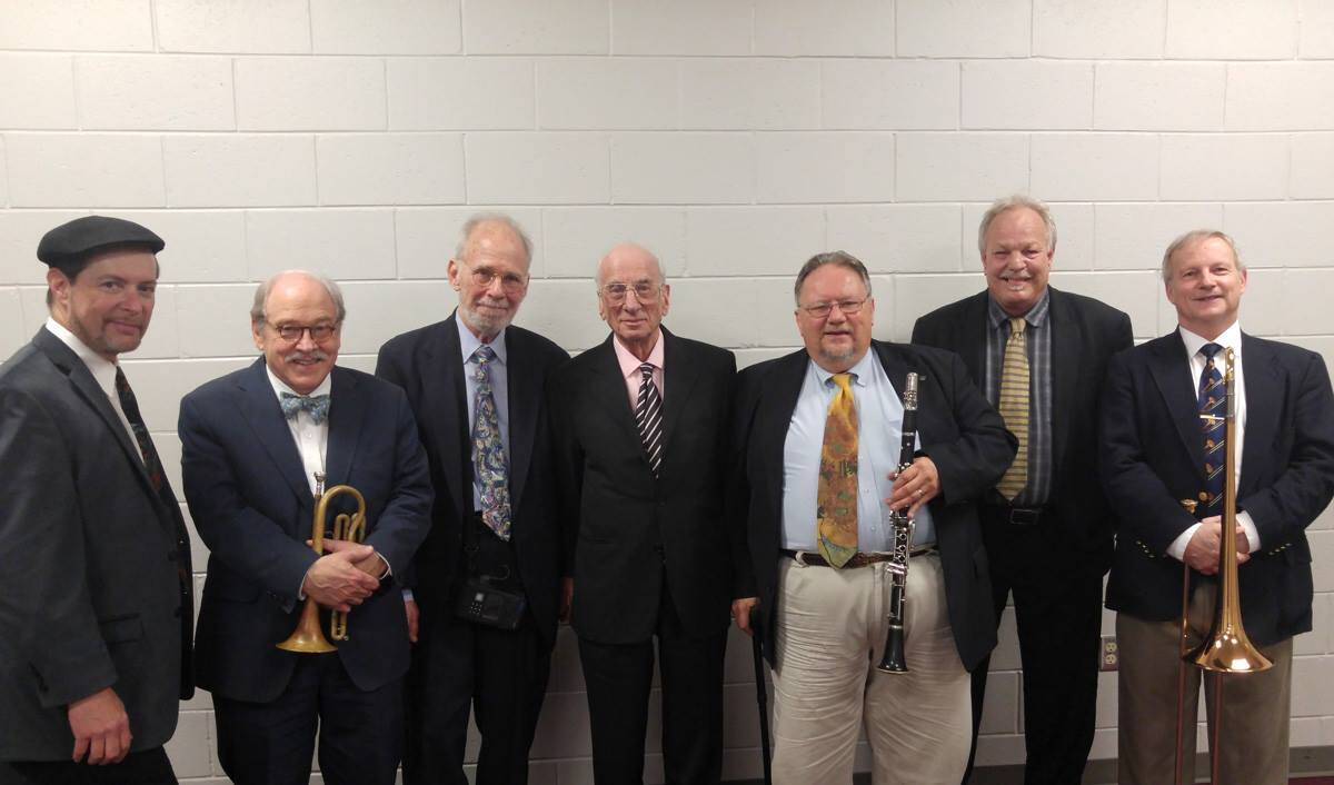 Dick Hyman 90th Birthday Sarasota 2017. with Phil Flanigan, Jim Cullum Jr., John Sheridan, Dick Hyman, Allan Vache, Kevin Hess, Mike Pittsley