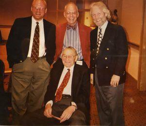 From left: Jeff Barnhart, John Sheridan, Hank Troy; seated: the great Ralph Sutton